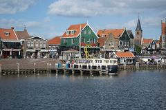 Volendam, view of houses and a river. stock image