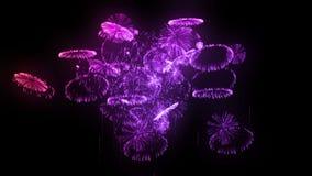 Voleos múltiples de los fuegos artificiales aislados en fondo negro 3d animación 3d rendir Fuegos artificiales complejos multicol libre illustration