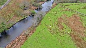 Voler au-dessus d'une rivière au Pays de Galles - au Royaume-Uni - l'Europe banque de vidéos