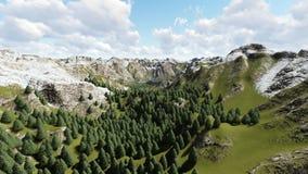 Voler au-dessus de la belle montagne aiment et belle forêt illustration stock