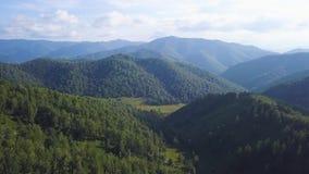 Voler au-dessus de la belle rivière de montagne et de la belle agrafe de forêt Tir d'appareil de photographie aérienne Panorama d banque de vidéos