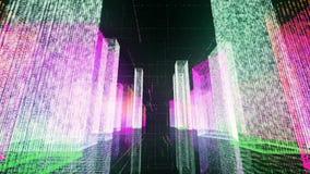Voler au-dessus de la ville numérique dans le réseau Internet d'affaires et de télécommunication rendu 3d Images libres de droits