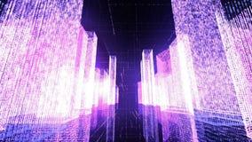 Voler au-dessus de la ville numérique dans le réseau Internet d'affaires et de télécommunication rendu 3d Photos libres de droits