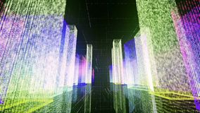 Voler au-dessus de la ville numérique dans le réseau Internet d'affaires et de télécommunication rendu 3d Photos stock