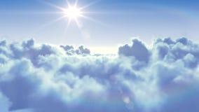 Voler au-dessus des nuages avec le soleil illustration de vecteur