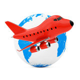 Voler autour du concept du monde Ne rouge de Toy Jet Airplane de bande dessinée illustration stock