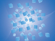 voler bleu de cubes en fond abstrait Photo libre de droits