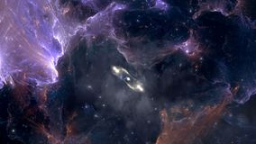 Voler par des gisements de nébuleuse et d'étoile après l'explosion de supernova banque de vidéos