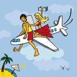 Voler sur l'avion à la plage Photo libre de droits