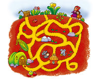 Voles maze. Aunt rats sympathize with the thumb girl, decided to give little girl back to her home Stock Images