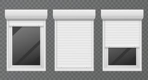 Volets de roulement Cadre sans visibilité en métal de rouleau de Windows, jalousie blanche, ensemble de vecteur de fenêtre de bur illustration de vecteur