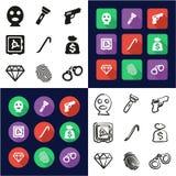 Voleur All dans les icônes une noires et la conception plate de couleur blanche à main levée réglée Image stock