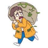 Voleur avec le sac de l'argent Objets d'isolement sur le fond blanc Illustration de vecteur de dessin animé Pages de coloration illustration de vecteur