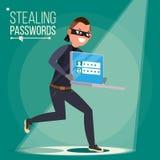 Voleur Character Vector Pirate informatique volant les données sensibles, argent d'ordinateur portable Entailler PIN Code Entaill Photographie stock