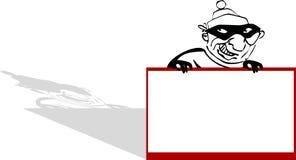 Voleur de dessin animé avec le signe photos stock