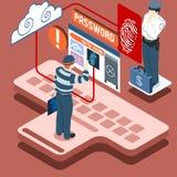 Voleur isométrique d'Infographic Biometric Recognition - Access Denie Images stock