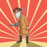 Voleur occidental sauvage avec l'illustration tirée par la main d'arme à feu Photos libres de droits