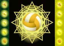 Voleyballs ed ambiti di provenienza gialli Immagini Stock Libere da Diritti