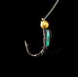 Volez pour pêcher des poissons sur un fond noir Photos libres de droits