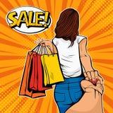 Volg me concept De jonge vrouw leidt een man op het winkelen Kortingen en verkoop Pop-artillustratie vector illustratie