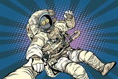 Volg me het gebaar o.k. van de robotastronaut vector illustratie
