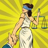 Volg me, leidt Themis tot hof royalty-vrije illustratie