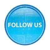 Volg ons bloemen blauwe ronde knoop stock illustratie