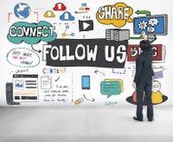 Volg ons Sociaal Media Blog Online Concept royalty-vrije stock foto