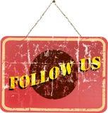 Volg ons, sociaal media teken Stock Foto
