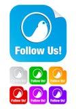 Volg ons, vierkante vormstickers Royalty-vrije Stock Fotografie