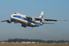 Volga Antonov 124. Antonov 124 is the largest serial cargo airplane, originally developed for military operations (strategic airlift). Designed by the Ukrainian royalty free stock images