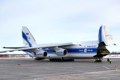 Volga-Dnepr Airlines Antonov An-124 Ruslan. NOVYY URENGOY, RUSSIA - MARCH 6, 2014: Volga-Dnepr Airlines Antonov An-124 Ruslan at the Novyy Urengoy International royalty free stock photography