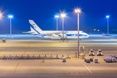Volga-Dnepr Airlines in Chubu Centrair International Airport. AICHI, JAPAN - JUNE 26, 2016: Volga-Dnepr Airlines in Chubu Centrair International Airport Japan royalty free stock image