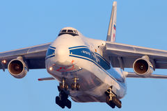 Volga-Dnepr Antonov An-124 landing at Sheremetyevo international airport. SHEREMETYEVO, MOSCOW REGION, RUSSIA - FEBRUARY 10, 2013: Volga-Dnepr Antonov An-124 Stock Photo