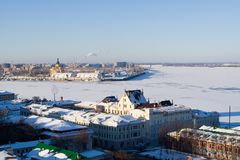 Volga en Oka rivierenjunktion royalty-vrije stock fotografie