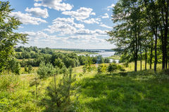 Volga expanses. Volga landscape on a bright and Sunny day. Blue sky and white clouds royalty free stock photo