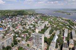 Volga. Grüne Insel. Stockfoto