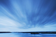 Volga river. Landscape of Volga river at storm stock images