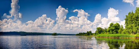 Volga-river. Summer panoramic landscape with Volga-river stock photography