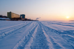 Volga river bank in the city of Samara in the winter at sunset Royalty Free Stock Photography