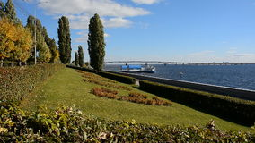 Volga river. City Quay in the city of Saratov. stock video footage