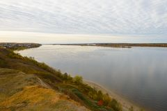 The Volga River on a cloudy autumn day. View from the high bank stock photo