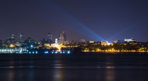 Volga river embankment at night in Samara, Russia. Panoramic view of the city. Royalty Free Stock Photography
