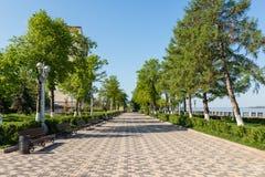 Volga river embankment in Samara. View on quay of river Volga Royalty Free Stock Image