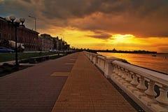 Volga river embankment at sunset Royalty Free Stock Image