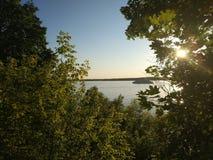 Volga river flowing through the city of Samara. stock photo