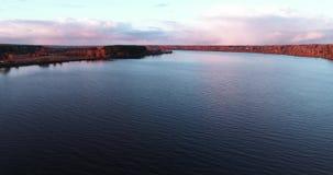 Volga River i höst på quadcopter för flyg- sikt för soluppgång över skogen 4k stock video