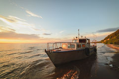 Volga. River. lonely yacht in ulyanovsk stock photo