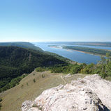 Volga River with the mountains on a summer day Royalty Free Stock Photography