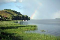 Volga River nära den Vinnovka byn, Ryssland Royaltyfri Bild